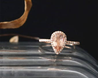 14K Rose Gold Morganite Engagement Ring 9*6mm Pear Cut Peach Morganite Ring Gemstone Bridal Ring Diamond Halo Ring Stackable Anniversay Ring