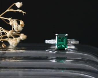 14K White Gold Emerald Engagement Ring 8*6mm Emerald Cut Lab Created Emerald Ring Diamonds Half Eternity Diamonds Ring Gemstone Bridal Ring