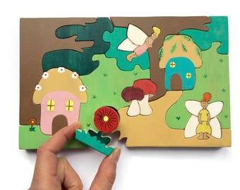 Wooden puzzle - Fairies in the wood - Waldorf toy with fairies and forest figures - eco friendly toys