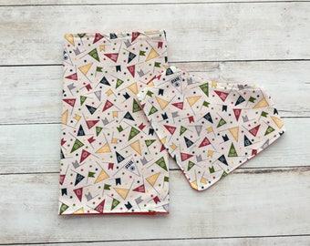 sport burp cloth and bib set - baby accessories - burp pad - baby shower gift - bandana bib - neutral baby gift - drool bib - dribble bib