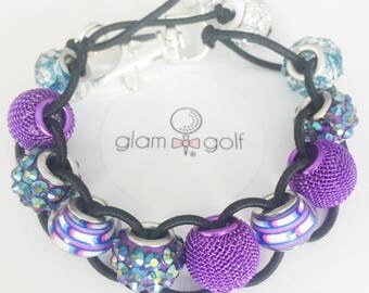Beaded golf score stroke counter bracelet crystal and glass beads