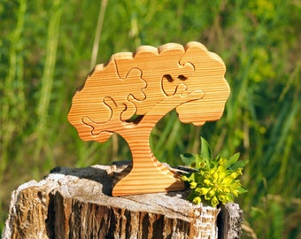Wooden tree puzzle, wood toy for toddlers, kids, Montessori materials, constructor, Waldorf eco friendly toy, natural wooden educational toy