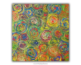 Circle of Life - Abstract Circles - Medium Acrylic Painting on Canvas - Geometric art - Original Handmade Painting - Contemporary Home Decor