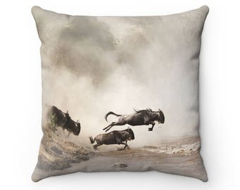 Great Wildebeest Migration - Square Pillow