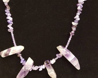 Purple conservative mid length necklace