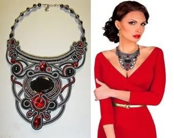 Necklace,Necklace black, necklace soutache, pendant, black,necklace red, necklace decoration, handmade, embroidered soutache, FREE SHIPPING
