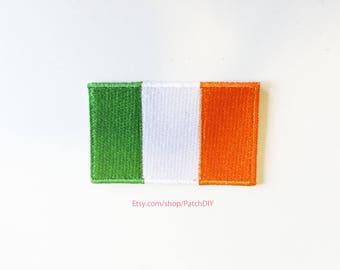 1x IRISH flag iron on patch IRELAND Dublin North Europe World trip backpack Embroidered Applique logo green white orange Saint Patrick day