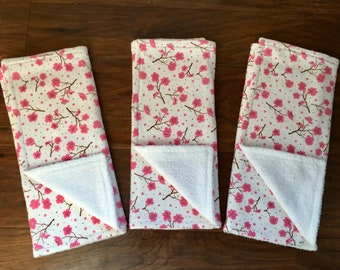 3 Pack Jersey Knit Burp Cloths, Baby Shower Gift, Cherry Blossom Burp Cloths, Burp Cloth Set, Girl Burp Cloths, Baby Branch Boutique