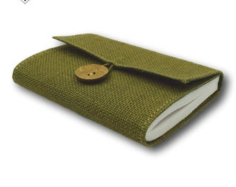 Olive Green Journal - Burlap Jute Cover with Inside Keepsake Pocket by MyPapermake