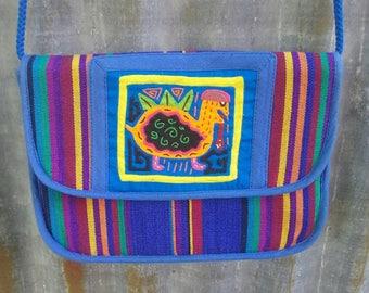 80s 90s ethnic geometric purse turtle eating snake guatemala VTG
