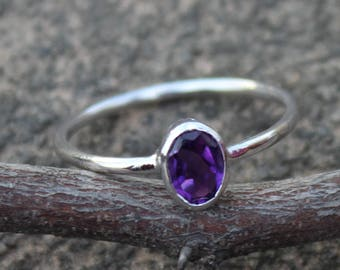 925 Solid Sterling Silver - Natural Purple Amethyst Ring -  Jewelry Handmade - Promise Ring - February Birthstone Ring - All Size US 3 to 13
