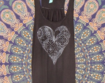 Heart Womens Tank in Black - Graphic Tank - Screen Printed Designs with Eco-Friendly Ink