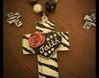 Chunky Wood Cross Faith Necklace Set
