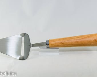 Stainless steel Cheese Plane, handcrafted cherry hardwood handle
