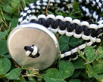 Handmade Braided Nylon Bracelet with Handmade Metal Button