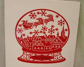 Snowman personalized vinyl canvas