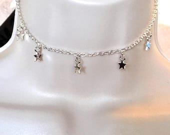 Silver Choker/Silver Necklace/Choker/Choker Necklace/Silver Choker Necklace/Star Necklace