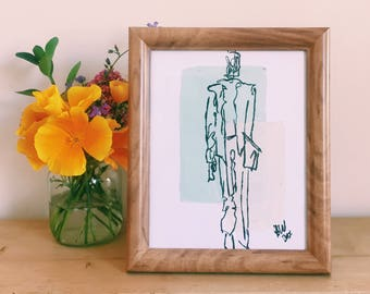 Illustration | Baby Blue and Pink | Man in a Suit | Framed Art | Home Decor | Annabel Wyatt Art | 25 X 20cm