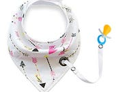 Bandana bib Drool Bibs with Snaps Organic Super Absorbent Cotton Drooling & Teething Bib with Pacifier clip