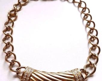 Vintage 80s 90s Bergdorf Goodman Signed Gold Tone Designer Statement Necklace
