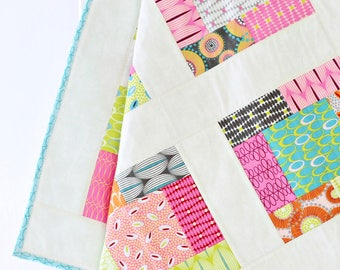 Girl Baby Blanket Crib, baby crib quilt, girl nursery, For You, baby quilt girl, pink, mint, yellow, geometric, baby quilt handmade, modern