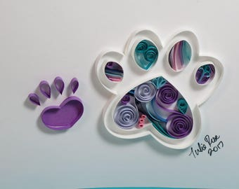 Quilled paper paw print pet art - dog, cat, pet lover birthday, anniversary, wedding celebration gift. Ready for framing.