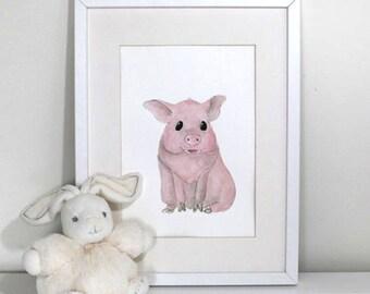 Farm nursery prints - Pretty piglet print nursery art