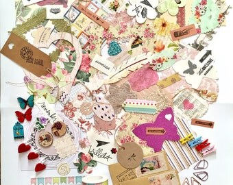Scrapbooking set, junk journal set, card making set, craft supplies, die cuts