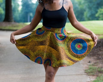 Ankara  Mini Circle Skirt