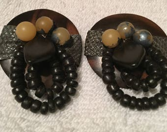 Vintage 80s BigButton Handcrafted Brown Monkey Pod(appearance)Wood Earrings-2.5""