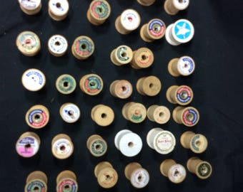 Wooden thread spools lot of 25 Clark and star