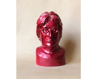John Lennon bust sculpture Beatles music legend, English rock star gypsum bust, metallic red