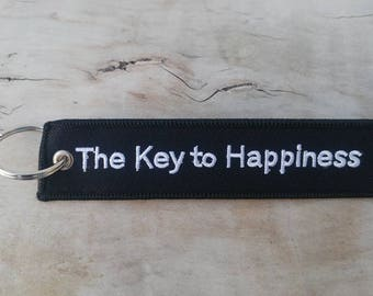 KEY TO HAPPINESS Black Key Tag/Ring