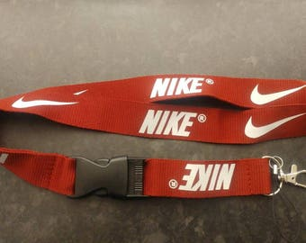 NIKE Red Lanyard with White Print High Quality
