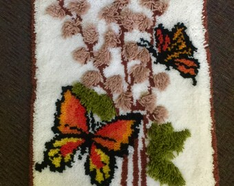 """Butterfly Hooked Rug  28"""" x 22"""""""