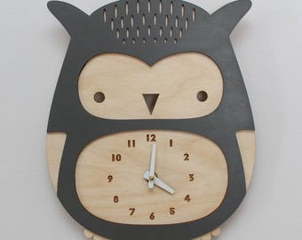wooden owl clock, dusky gray • modern nursery decor • baby shower gift • woodland theme • laser cut • baby shower gift