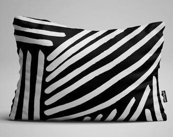Black and White Lumbar Pillow, Throw Pillow, Black and White Pillow, Rectangular Pillow, Decorative Pillow, Throw Pillows, Pillow, Pillows