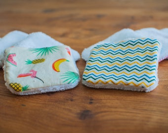 10 reusable washable cottons - cleansing and hygiene (waves and tropical design)