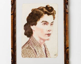 Framed watercolour of a young woman c1930's