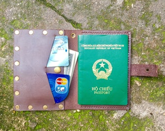 Passport Leather Pouch, Leather Passport Cover, Passport Holder , Gifts For Travelers, Travel Gifts, made in vietnamese