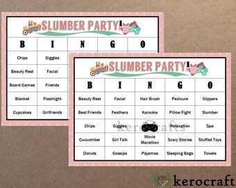 SLUMBER PARTY BINGO - 40 Cards