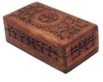 Vintage Morrocan Carved  Wooden Box