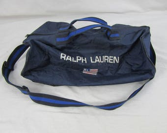 Vintage 90s Polo Sport Ralph Lauren Duffel Bag Navy Blue