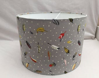 Lampshade Feathers fabric handmade, ceiling/table, 30cm or 20cm, grey background