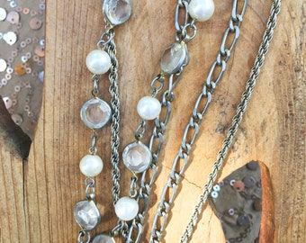 70s Triple Strand faux Pearl Silver Chain Necklace