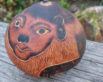 Folk Art Monkey Peruvian Carved Gourd // Vintage South American Collectible // Southwestern Rustic Decor