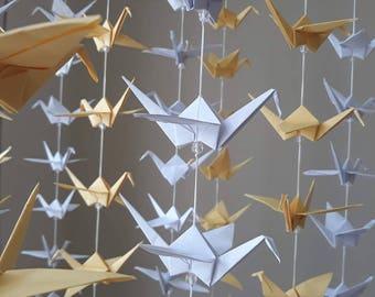 30 strands set of 10 cranes - white, yellow, - wedding decor - party decor, home decor ...