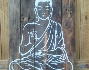 Rustic Buddha wall decor on recycled wood pallet