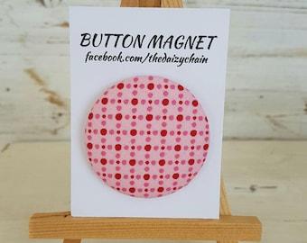 Large Fabric Button Magnet - Pink Polka Dot Design - Fridge Magnets - Office Magnets
