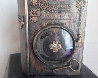 "Little book ""secret stash"" steampunk dial glass OWL"